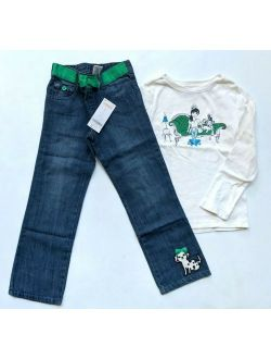 Gymboree Fancy Dalmation 5 5t Dog Girl Tee Jeans Set CC1-16