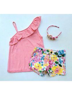 Crazy 8 Girls 7 8 Tropical Ruffle Tank Top Denim Floral Shorts Headband TD1-305