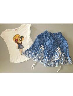 PAPER WINGS blue stripe bustle voile skirt vintage cupie doll top shirt 8 10