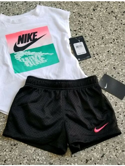 New Nike Kids Girls Graphic T-Shirt & Short Pants Outfit Set Size: 4
