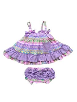 Baby Toddler Girl Summer Swing Top Bloomers Ruffled Boutique Outfit Clothing