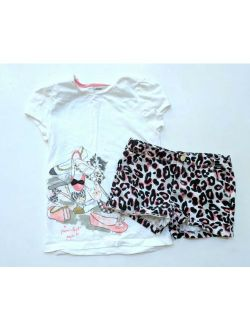 Gymboree 8 10 Kitty in Pink Graphic Shoes Tee Top Shorts Set TD1-344