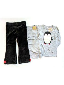 Crazy 8 Winter Penguin 4 5T Applique Tee Ruffle Top Pants Set CC1-75