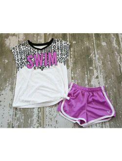 JUSTICE White Short Sleeve SWIM Purple Graphic Sparkle Side Tie Shirt Shorts Set