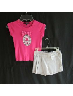 Lili Gaufrette Girls Outfit Set 8 Top Shorts Pink Gray Embellished