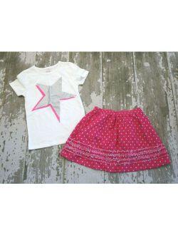 MINI BODEN White Short Sleeve Pink Silver Star Graphic shirt Lands End Skirt Set