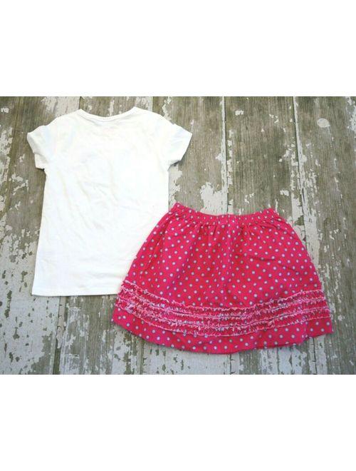 Lands' End MINI BODEN White Short Sleeve Pink Silver Star Graphic shirt Lands End Skirt Set
