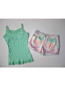 JUSTICE GIRLS GREEN SHORT TANK OUTFIT (B3) SZ 12 S