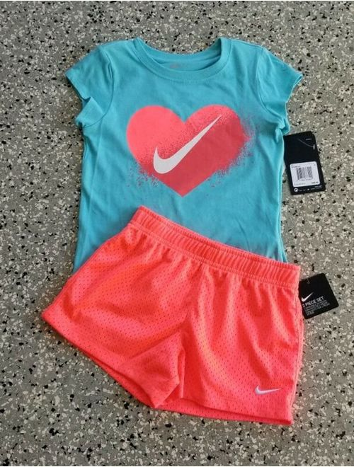 New Nike Girl's Blue Coral Graphic T-Shirt & Short Pants Outfit Set Size: 6