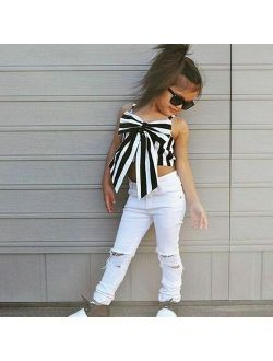 2pc Kids Baby Girls Fashion Outfit Butterfly Tops+White Pants Girls Clothes Set
