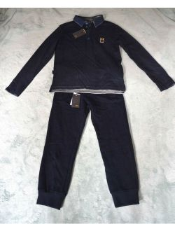 Uthentic Fendi Boy's Black Grey Polo Shirt And Pants Set (size 6)