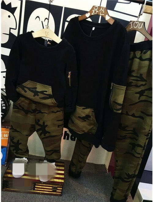 2pcs Cute Baby Boys Long Sleeve Camouflage Tops+Pants Kids Casual Clothes Set