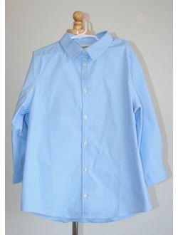NEW NWOT LANDS END Girls 3/4 Sleeve Stretch Perfect No Gape Shirt Light Blue 12