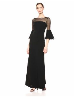Women's Illusion Bell Sleeve Gown