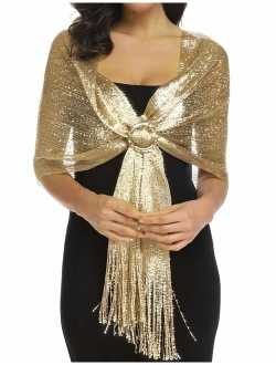 Rheane Sparkling Metallic Shawls and Wraps for Evening Party Dresses