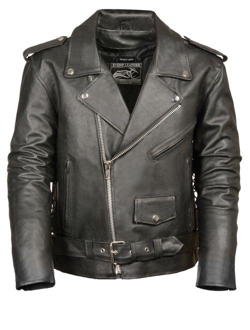 Event Biker Leather Men's Basic Motorcycle Jacket with Pockets