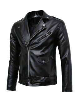 Beninos Men's Classic Police Style Coat Faux Leather Motorcycle Jacket