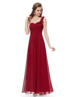 Flower One Shoulder Empire Waist Floor Length Bridesmaids Dress 09768