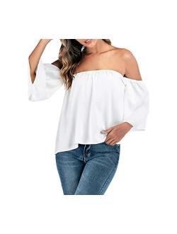 Women's Summer Off Shoulder Blouses Short Sleeves Sexy Tops Chiffon Ruffles Casual T Shirt