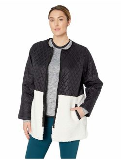 Women's Plus Size Faux Sherpa Quilted Polyfill Liner Jacket