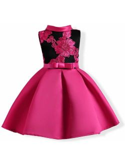 AYOMIS Girl's Flower Pageant Dress Kids Party Embroidery Wedding Dresses
