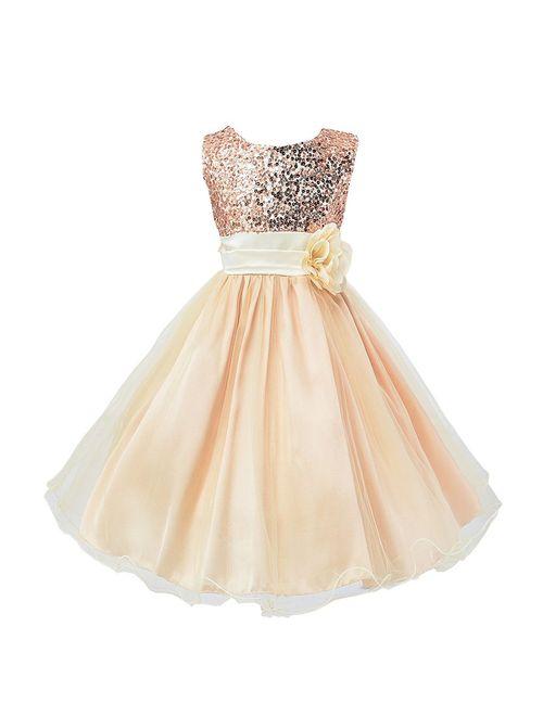 Wocau Little Girls' Sequin Mesh Tull Dress Sleeveless Flower Party Ball Gown