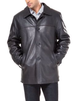 BGSD Men's Samuel New Zealand Lambskin Leather Car Coat (Regular and Big and Tall and Short Sizes)