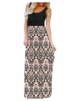 LIYOHON Summer Maxi Dresses for Women Beach Boho Plus Sleeveless Contrast Striped Floral Print Tank Top Long Party Dress
