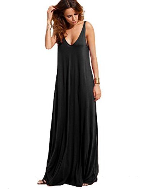 Verdusa Women's Casual Sleeveless Deep V Neck Summer Beach Maxi Long Dress