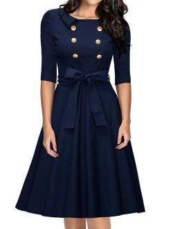 Miusol Women's Vintage 3/4 Sleeve Navy Style Belted Retro Evening Dress