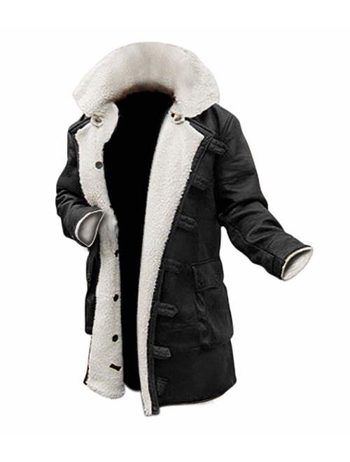 Blingsoul Shearling Leather Coats for Men - Swedish Bomber Leather Jacket Fur Coat