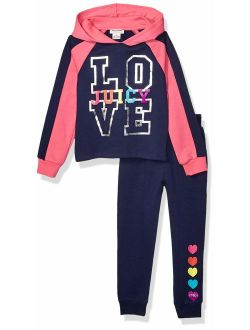 Girls' 2 Pieces Hooded Pullover Pants Set