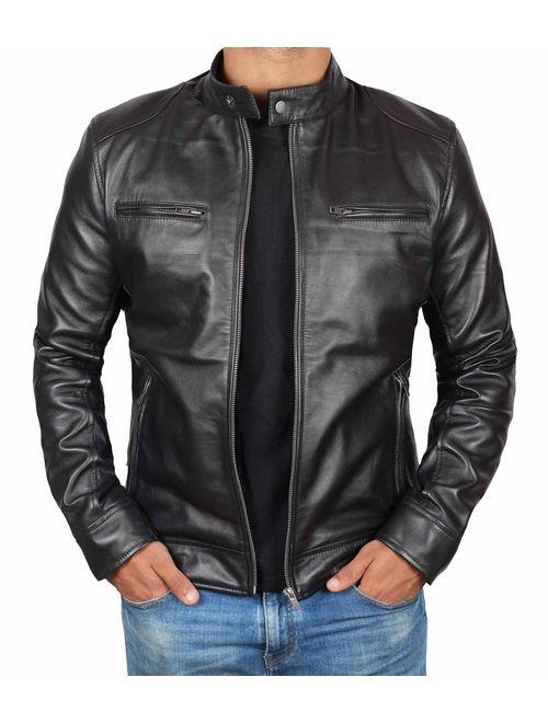 Genuine Black Leather Jacket Men - Lambskin Lightweight Mens Leather Jackets