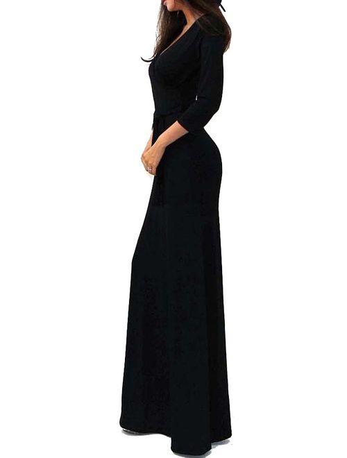 Vivicastle Women's USA Solid V-Neck 3/4 Sleeve Faux Wrap Waist Long Maxi Dress