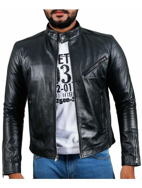 Laverapelle Men's Genuine Lambskin Leather Jacket (Black, Biker Jacket) - 1501008