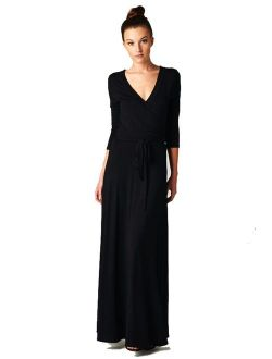 On Trend Women's Paris Bohemian V-Neck Printed 3/4 Sleeve Faux Wrap Long Maxi Resort Dress