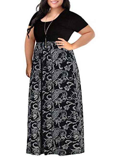Nemidor Women's Chevron Print Summer Short Sleeve Plus Size Casual Maxi Dress