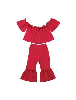 Baby Kids Girl Off-Shoulder T-Shirt Top + Long Flare Pants Ruffled Short-Sleeve Outfit Clothes Set