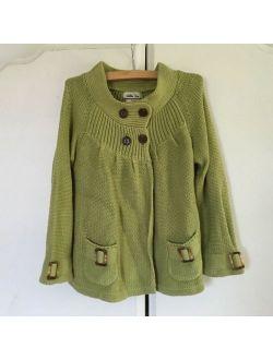 Matilda Jane Girls Mossy Glen Green Sweater Cardigan - Size 6 - GUC