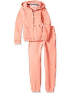 Girls' Fleece Hoodie Jacket And Pant Jog Set