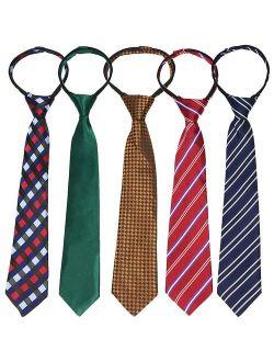 kilofly Pre-tied Adjustable Zipper Tie Kids Boys Baby Necktie Value Set of 5