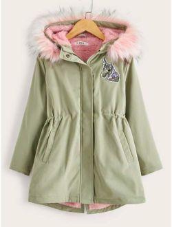 Girls Unicorn Patched Parka Coat