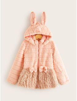 Girls 3D Ears Design Bow Detail Faux Fur Hooded Coat