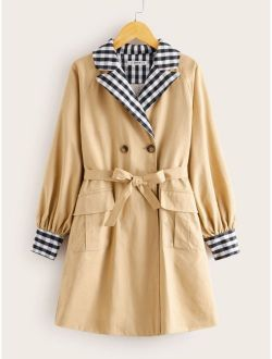 Girls Contrast Gingham Collar Self Belted Trench Coat