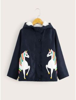 Girls Button Front Contrast Teddy Lined Unicorn Print Coat