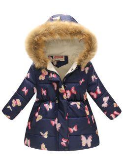 Kid's Girl's Boy's Hooded Warm Padded Floral Cute Zipper Snowsuit Outerwear Coat