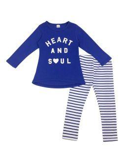 Jastore Girls 2 Piece Set Blue Long Sleeve T-Shirt and Stripes Leggings