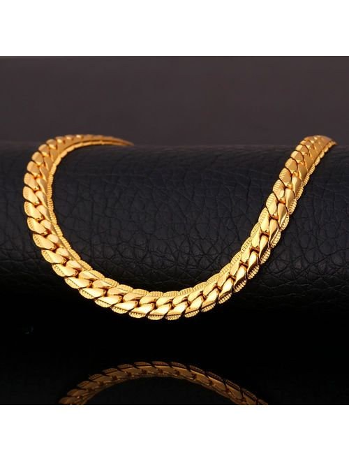 U7 Men Women 18K Gold Plated Necklace with Gift Box 18KGP Stamp Hip Hop Jewelry 4 Colors 6MM-9MM Wide Snake Curb Chain Necklace,18