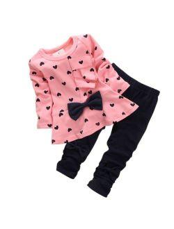 M RACLE Cute Little Girls Cartoon Printed Long Sleeve Top & Pant
