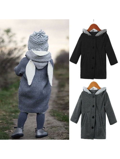 1-8 Years Kid Boy Girl Winter Thick Rabbit Long Ear Hooded Coat Jacket Outwear